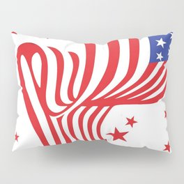AMERICAN FLAG  & RED STARS JULY 4TH ART Pillow Sham