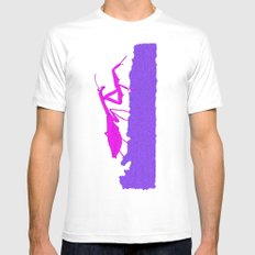 Pink Praying Mantis Mens Fitted Tee White MEDIUM