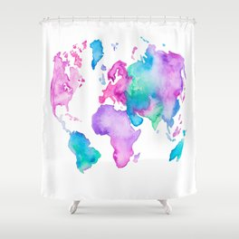 Modern world map globe bright watercolor paint Shower Curtain