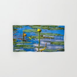 Water Lily in Blue Lake Hand & Bath Towel