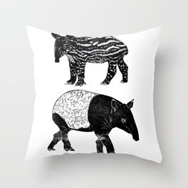 Malayan Tapir & Baby Throw Pillow