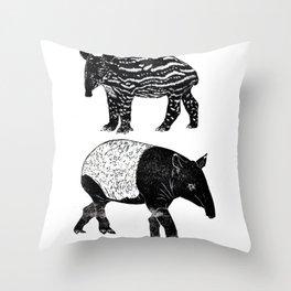 Malayan Tapir & Baby Throw Pillow