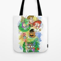 pixar Tote Bags featuring Disney Pixar Play Parade - Toy Story Unit by Joey Noble