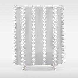 White chevron arrows on grey Shower Curtain