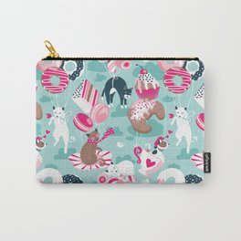 Pastel café sweet cats love dream // aqua background fuchsia pink pastry details Carry-All Pouch