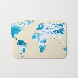Ocean World Map Sea and Sand Bath Mat