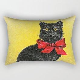 Pretty Black Cat- Vintage Cat Rectangular Pillow