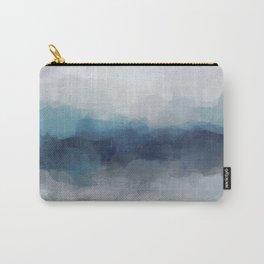 Indigo Navy Ocean Horizon, Sky Gray Blue Abstract Nature Ocean Rainy Cloudy Sunrise Water Art Print Carry-All Pouch