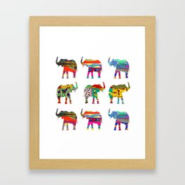Bright & Bold Elephant Print Framed Art Print