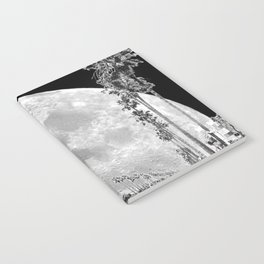 California Dream // Moon Black and White Palm Tree Fantasy Art Print Notebook