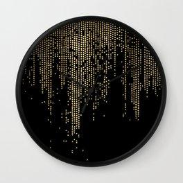 Dripping Gold Dots on Black Wall Clock