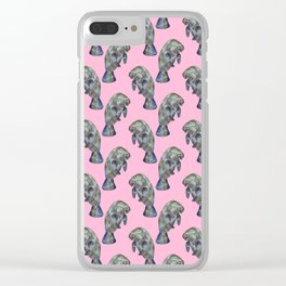Pink Watercolor Manatee Pattern Clear iPhone Case