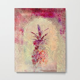 Vintage Moroccan Pineapple - Pink & Floral patterns - Retro style Graphic Metal Print