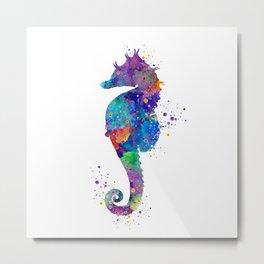 Seahorse Colorful Watercolor Art Gift Ocean Art Metal Print