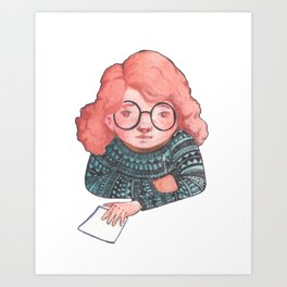 Painting girl in orund glasses Art Print
