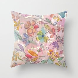 Light Pink Floral Watercolor Throw Pillow