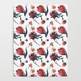 Artistic hand painted orange purple floral tulips pattern Poster