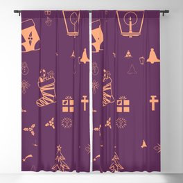 Christmas doodles Blackout Curtain