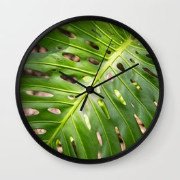 Large Green Monstera Leaf Wall Clock