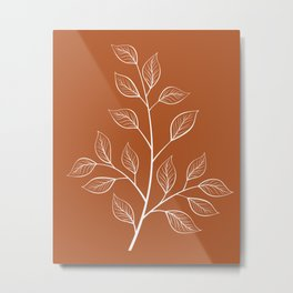 Delicate White Leaves and Branch on a Rust Orange Background Metal Print