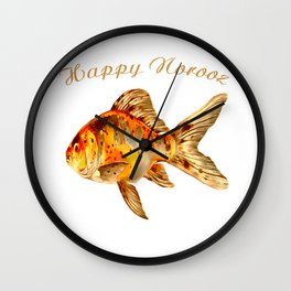 Elegant Happy Norooz Goldfish Persian New Year Wall Clock
