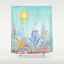 Indian Summer Mountains blue Shower Curtain