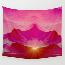 Pink romantic mountains Wall Tapestry
