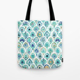 PEACOCK MERMAID Nautical Scales and Feathers Tote Bag