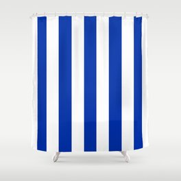 International Klein Blue - solid color - white vertical lines pattern Shower Curtain