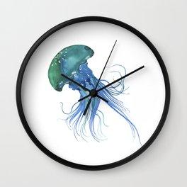 Blue & Teal Abstract Watercolor Jellyfish Minimalist Coastal Art - Coast - Sea - Beach - Shore Wall Clock