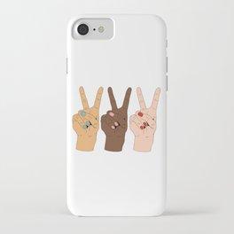Peace Hands Cartoon iPhone Case
