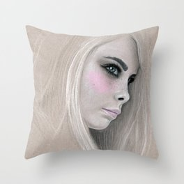 Cara Fashion Illustration Portrait Throw Pillow