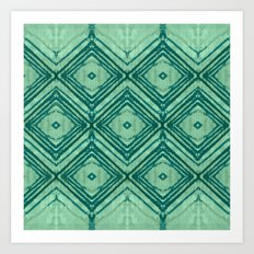 watercolor diamond seafoam green Art Print
