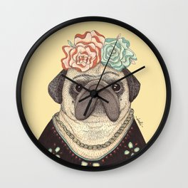 Frida Pug Kahlo Wall Clock