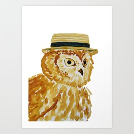 Dapper Owl or Owl Capone? Art Print