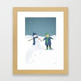 Snowman Twins Framed Art Print