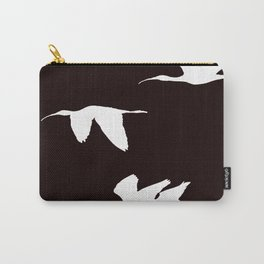 White Silhouette of Glossy Ibises In Flight Carry-All Pouch
