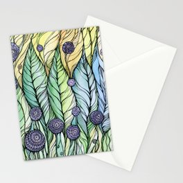 Dandelions.Hand draw  ink and pen, Watercolor, on textured paper Stationery Cards