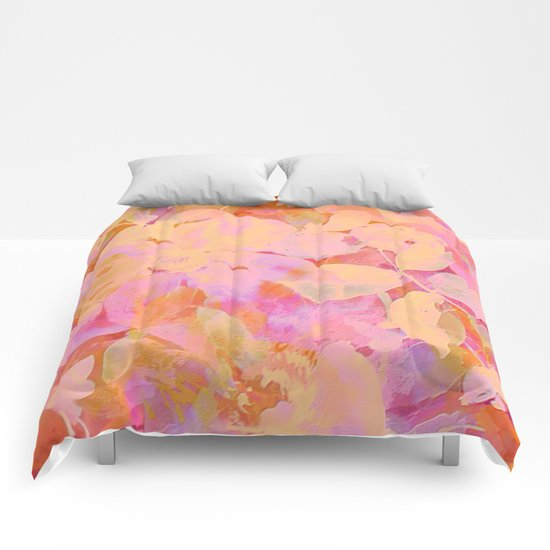 orange and peach floral Comforters