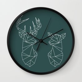 Geometric Stag and Doe (White on Slate) Wall Clock