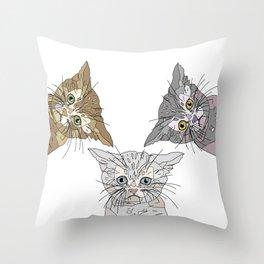 Triple Kitties Throw Pillow