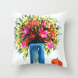 watercolor stillife with an apple Throw Pillow