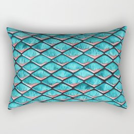 Teal blue and coral pink arapaima mermaid scales Rectangular Pillow