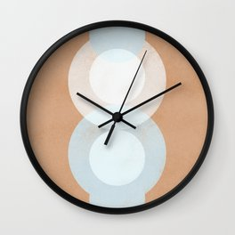 Waterdrops meeting in a simple almost cubist minimal art Wall Clock