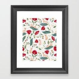 Ramona Poppy off-white Framed Art Print