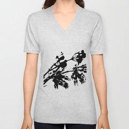 Black and White Abstract of Desert Milkweed Unisex V-Neck