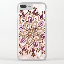 Burgundy Mandala Clear iPhone Case