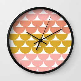 Pretty Geometric Bowls Pattern in Coral and Mustard Wall Clock