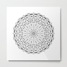 Wake up, Kick A**, Repeat - Black and White Mandala Metal Print