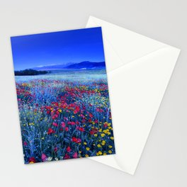 Spring poppies at blue hour Stationery Cards